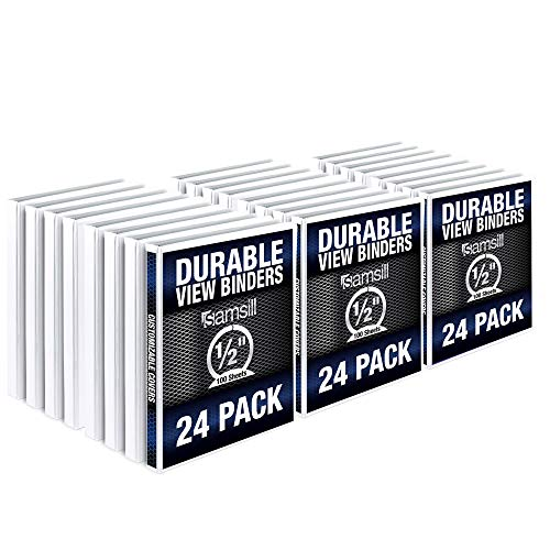 Samsill Durable .5 Inch Binder White Round Ring Binder/Customizable Clear View Binder/Bulk Binder 24 Pack/White 3 Ring Binder/Half Inch Binder