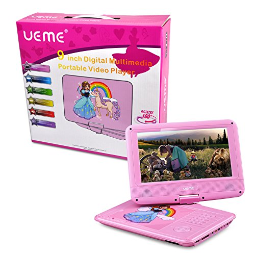 UEME 9'' Portable DVD Player with Car Headrest Mount Holder | Swivel Screen | Remote Control | Rechargeable Battery | SD Card Slot and USB Port, Personal DVD Player PD-0093 (Pink) by UEME (Image #9)