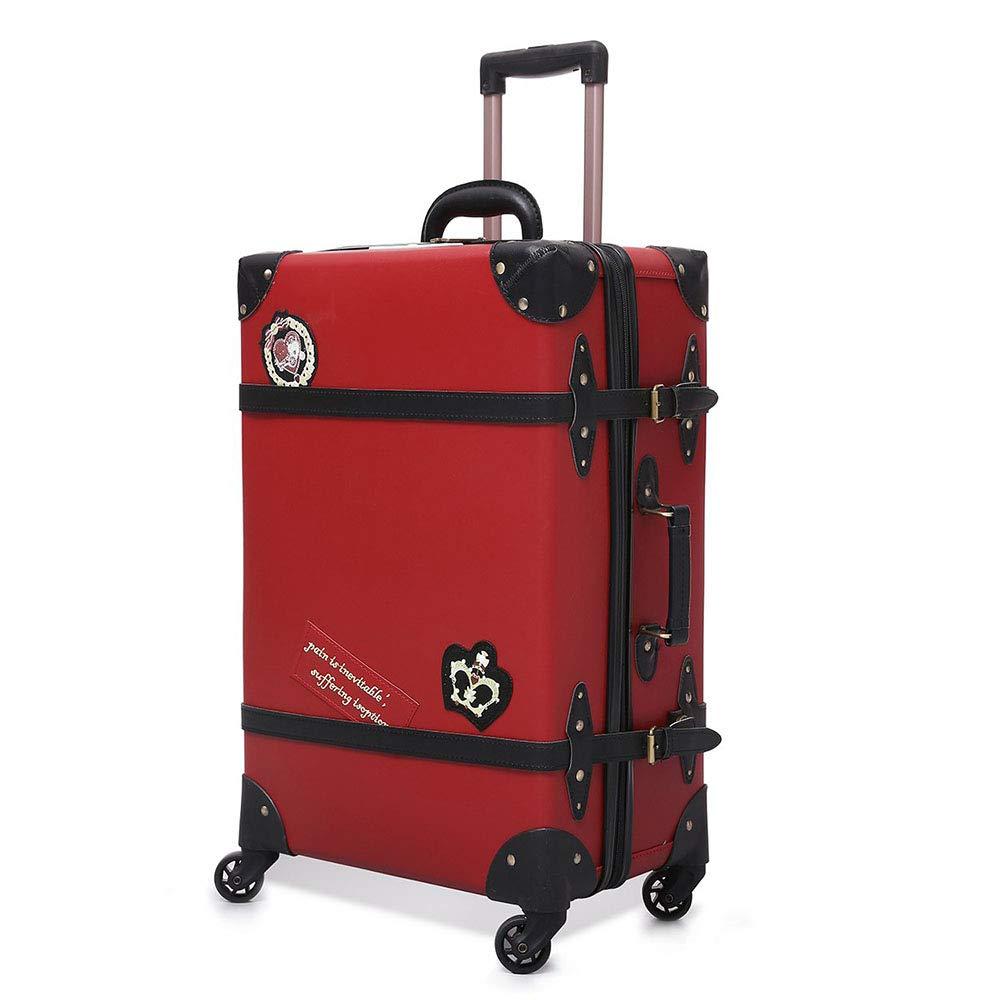 レトロpuレザーローリング荷物スピナー女性のスーツケースホイールトロリーヴィンテージ20インチ女性キャビントラベルバッグ B07MPP9BXY Red