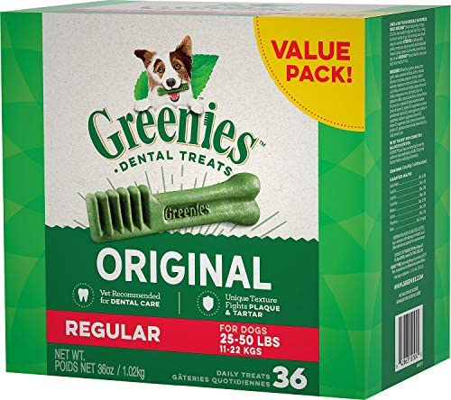 Greenies Dental Chews for Dogs, Regular, 36 Count Pack of 5
