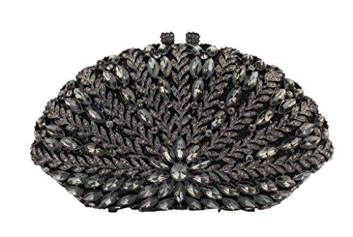 Yilongsheng Parte de las mujeres bolsos de embrague negro gris