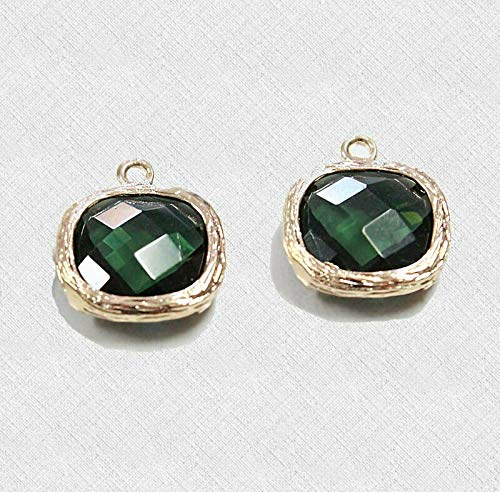 (2 Framed Glass Pendants Peridot Color Matte Gold with Faceted Cut - GP10)