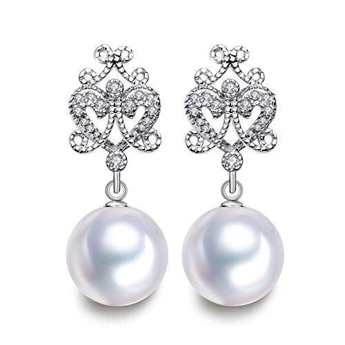 MITUO Bohemiar Fashion Round Shell Pearl Dorps Long Earrings For Women Girl (White) -