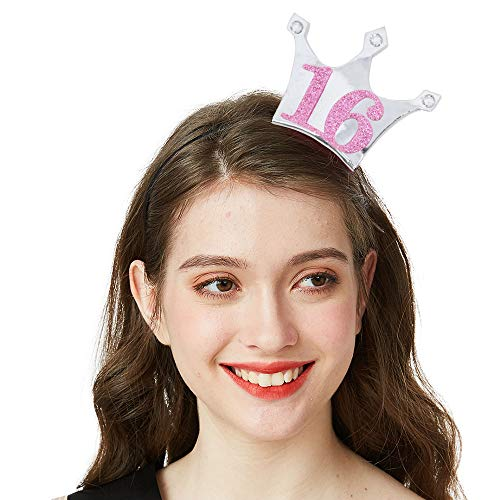16 Birthday Headband - Sweet 16 Party Tiara 16th Birthday Gifts Birthday Party Accessories(Silver/Glitter Pink) ()
