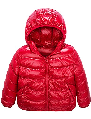 Boys & Girls Ultra Light Down Packable Coat, Sleeved Outerwear Compact Windproof Puffer Jacket with Hood (4-6Y, Red)