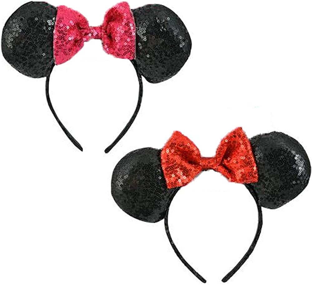 Mickey Mouse Ears Minnie Mouse Ears Cushioned Bow Pink Red Sequins