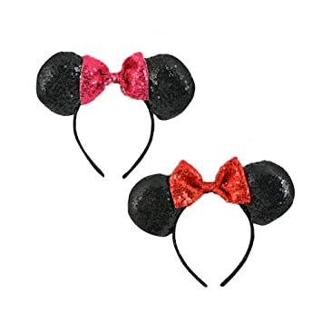 16e7fca4bd7 Image Unavailable. Image not available for. Color   2-Pack  Disney Minnie  Mouse Sequin Ears with Pink   Red Bow Headbands