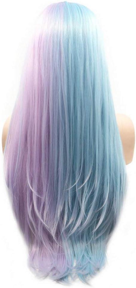 Media luz púrpura medio azul Encaje frente peluca larga amistosa pelo sintético recto impecable peinado Drag Queen Pelucas pastel para las mujeres ...