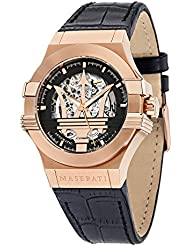 Maserati Mens Potenza R8821108002 Rose Gold Leather Automatic Watch