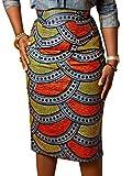 Joeoy Women's High Waist Vintage Printed Midi Pencil Skirt-M