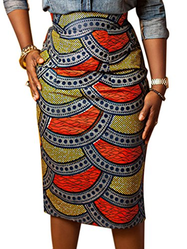 Joeoy Women's High Waist Vintage Printed Midi Pencil Skirt-L