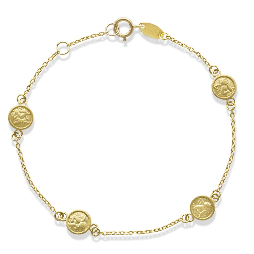 Baby and Toddler Jewelry-14KY Gold Four Miniature Angel Bracelet by Unknown