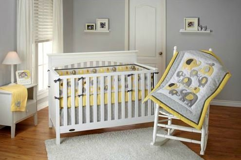 Amazoncom Little Bedding By Nojo Elephant Time 4 Piece Crib