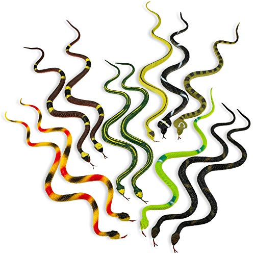 Kicko 14 Inch Assorted Big Rainforest Snakes - 12 Pieces Stretchy Limbless Replica Reptiles, Gag Toy, Gift Idea, Carnival Game Prizes, Science and Nature, Eco-Friendly Repellent, Goody Bag, Floater