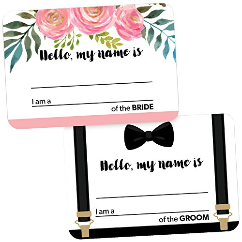 Avery Premium Wedding Guest Name Tags, Bride and Groom, No Lift No Curl, 36 Handwriteable Name Stickers