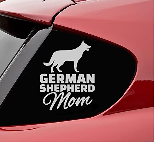 German shepherd silhouette mom parent mother dog pet Vinyl Decal Sticker (Satin Silver)