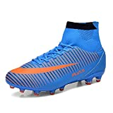 Cooga Men's Soccer Cleats Athletic Outdoor Flexible Training Soccer Shoes Blue 7 D(M)