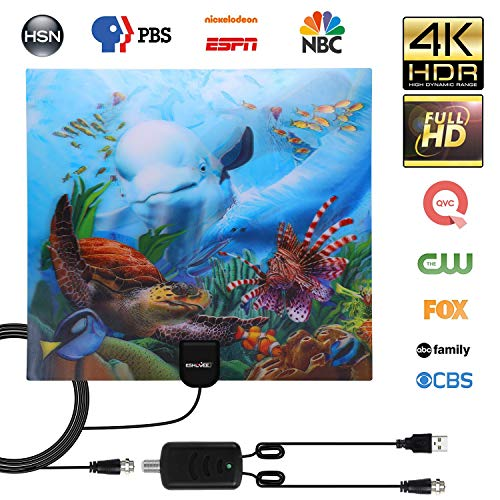 ESHOWEE Amplified HD Digital TV Antenna 140 Miles Range Tv Support 4K 1080p & All Older TVs Indoor Powerful HDTV Amplifier Signal Booster - 18ft Coax Cable/USB Power Adapter