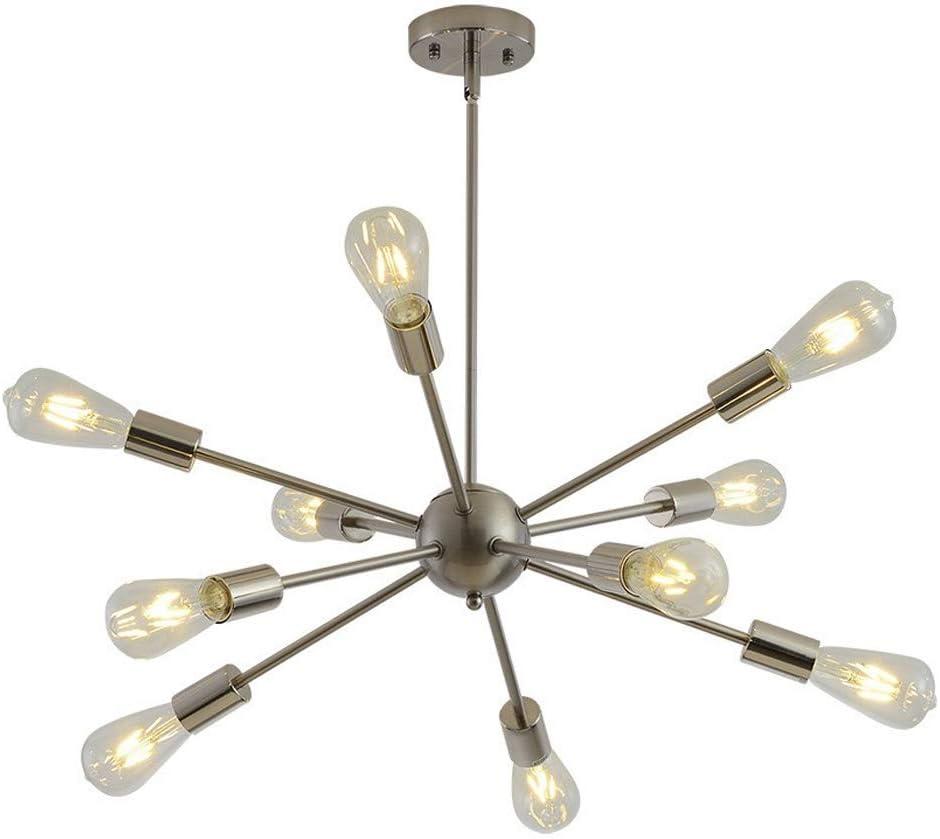 Bkrred 10 Jefes Satélites Araña nórdica hierro con varios cabezales simple araña lámpara colgante retro Industrial de viento que cuelgan del techo Simple Light Habitación Sala Nórdica Estilo E27 / E26