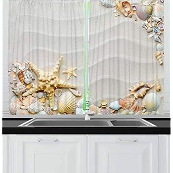 Amazon Com Ambesonne Beach Decor Kitchen Curtains Summer