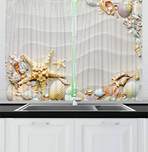 """Ambesonne Starfish Kitchen Curtains, Seacoast with Sand with Colorful Various Seashells Tropics Aquatic Wildlife Theme, Window Drapes 2 Panel Set for Kitchen Cafe Decor, 55"""" X 39"""", White Coral"""