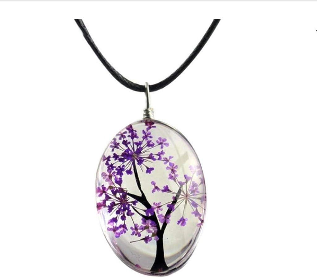 NUANYANG Vitality Collar Planta Flor Colgante Cielo Estrellado árbol de la Vida Amuleto Tiempo Joyas de Piedras Preciosas Hombres y Mujeres perfectos Regalos
