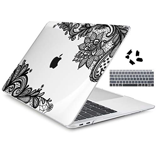 Dongke for New MacBook Air 13 Inch Case A1932 2018 Compatible Touch ID Retina Display 3 in 1 Bundle, Hard Shell & Keyboard Cover Set (Black Lace