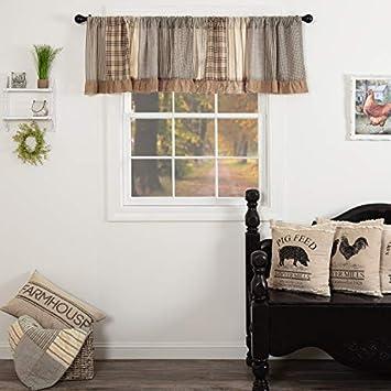 VHC Brands Farmhouse Kitchen Window Curtains – Sawyer Mill Grey Patchwork Valance, 19×90, Charcoal