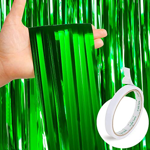 Metallic Green Fringe - 4 Pack Green Foil Curtains Metallic Fringe Curtains Shimmer Curtain for Photo Booth Props Party Stage Decor (Green) + 1 pc Double Sided Adhesive Tape for Free