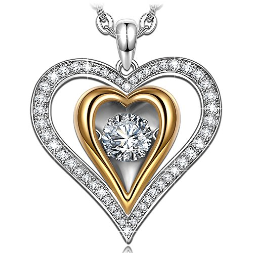 925 Sterling Silver Necklace for Women Jewelry Heart Necklace Gold Plated Necklaces Dancing Heart Jewelry for Girl Gift for women Cubic (Dancing Lady Pendant)