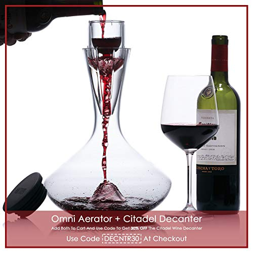 Vintorio Citadel Wine Decanter - Artisanally Hand Blown Lead-Free Crystal - Super Durable Sommelier's Wine Carafe with Aerating Punt Design and Silicone Stopper