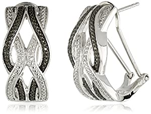 Sterling Silver White and Black Diamond Intercrossed Omega Back Earrings