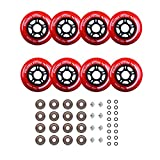 Rollerex Inline Skate/Rollerblade Wheels VXT500 80mm (8-Pack or 2-Pack or 2 Wheels w/Bearings, Spacers and Washers) (80mm Rocket Red (8 Wheels w/Bearings, spacers and washers))