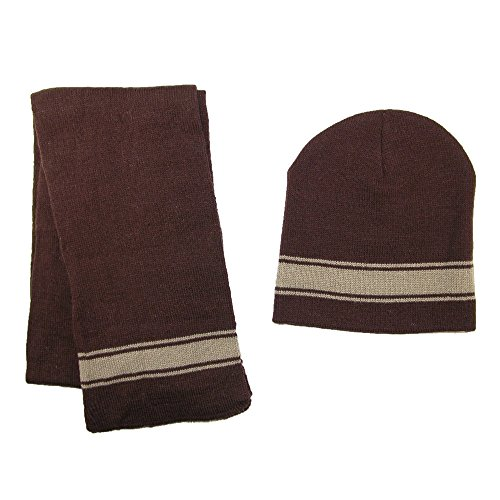 CTM Boys' 2-4 Striped Hat and Scarf Set, Brown