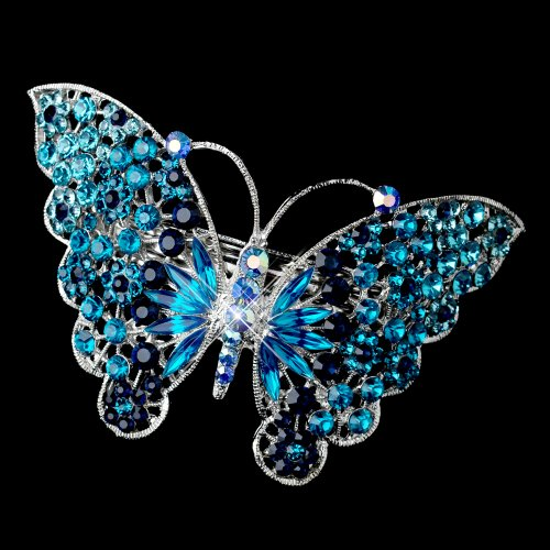 Marlena Blue & AB Rhinestone Butterfly Wedding Bridal Barrette - Special Occasion, Prom, Party by Fairytale Bridal Tiara (Image #2)