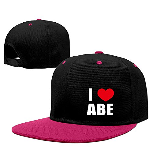 i-love-abe-i-love-abraham-heart-contrast-color-flat-bill-pink