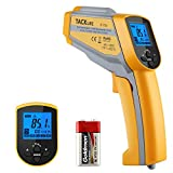 Tacklife Infrared Thermometer, IT-T05 Non-contact Dual Laser Thermometer -58°F~ 1022°F Digital Temperature Gun with Adjustable Emissivity & Max Measure for Cooking & Brewing, Yellow and Gray