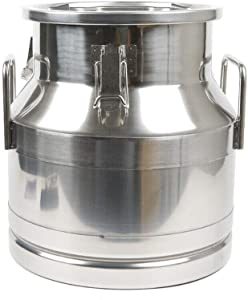 Milk Can 5 Gallon Food Grade Stainless Steel Milk Transport Can Milk Bucket Wine Pail Bucket Milk Can Tote Jug with Sealed Lid for Milk Wine Liquid Storage Container (5 Gallon / 20 Liters)