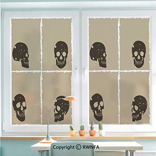 RWNFA Window Glass Sticker Door Mural Skull Figure on Murky Flat Framework Halloween Crossbones Spooky Monster Image Static Cling Privacy No Glue Film Home Decorative 22.8x35.4inch,Tan Dark Taupe -