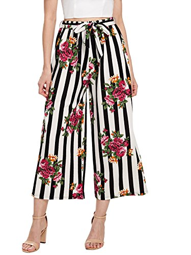 Stretch Wide Leg Crop Pants - Romwe Women's Loose Floral and Striped Self Belted Palazzo Pants Frilled High Elastic Waist Wide Leg Crop Pants #Red L