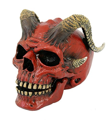 Pacific Giftware Red Devil Horned Skull Figurine Collectible Tabletop Dark Fantasy Accent 5 inch Tall