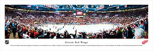 Red Photograph Wings Detroit - Detroit Red Wings -Center Ice at Joe Louis Arena - Panoramic Print