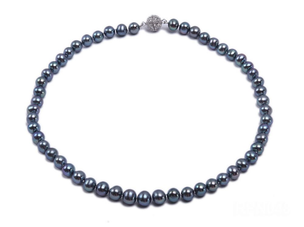 JYX Single-strand 8-9mm Black Round Cultured Freshwater Pearl Necklace with Zirconia Clasp