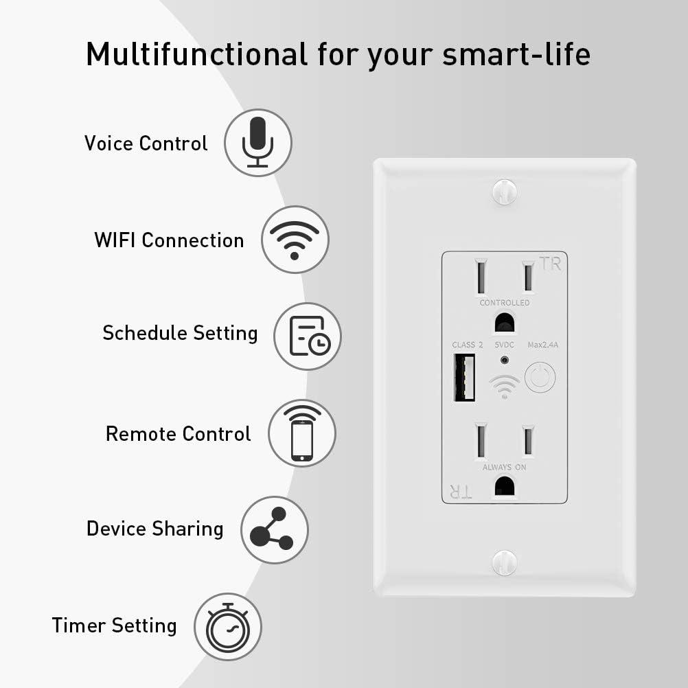 KKmoon Enchufe de pared inteligente USB Enchufe Interruptor Enchufe Inteligente USB Enchufe Cargador de tel/éfono Adaptador de cargador USB Interruptor de corriente Adaptador Corriente con USB