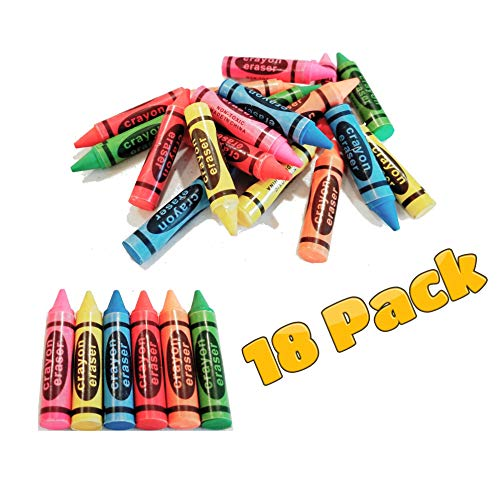 Crayon Erasers 18 Pack Mix Colors Stationary for Kids Teachers School supply