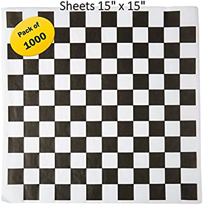Grease Resistant Black Sandwich Liner 300 Sheet Pack Made in USA Churches Fairs School Carnivals BBQs Microwave Safe 15x15 in Wax Paper Deli Wrap for Restaurants Concession Stands Extra Large
