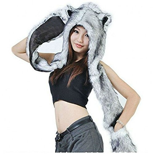 Zehui HUSKY Full Animal Hoodie Hat 3-in-1 Function Faux FUR
