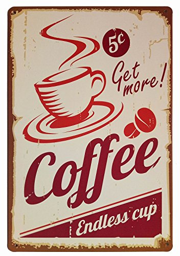 ERLOOD Get More Coffee Cup - Retro Vintage Tin Sign 12