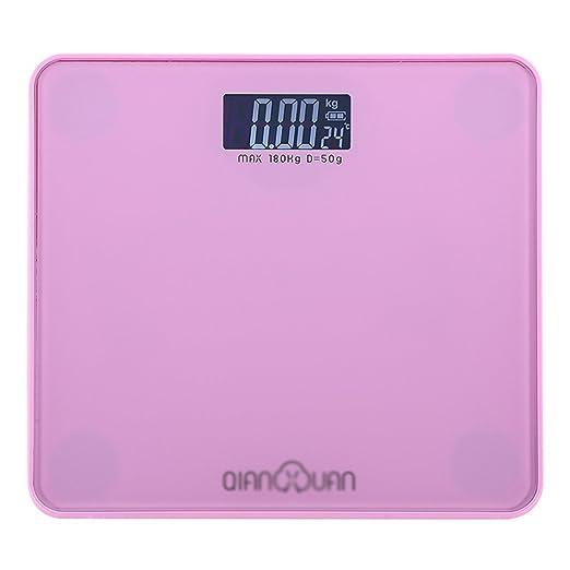 Escala de peso DWW Báscula de Peso Báscula electrónica doméstica de ultraprecisión Totalmente Cerrada Salud Cristal Templado de Alta Resistencia + Escala ...