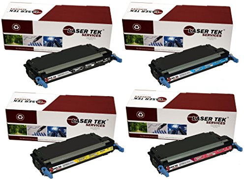 Laser Yellow Q7582a - Laser Tek Services Compatible 501A / 503A Toner Cartridge Replacement for the HP Q6470A, Q7581A, Q7583A, Q7582A. (Black, Cyan, Magenta, Yellow, 4-Pack)
